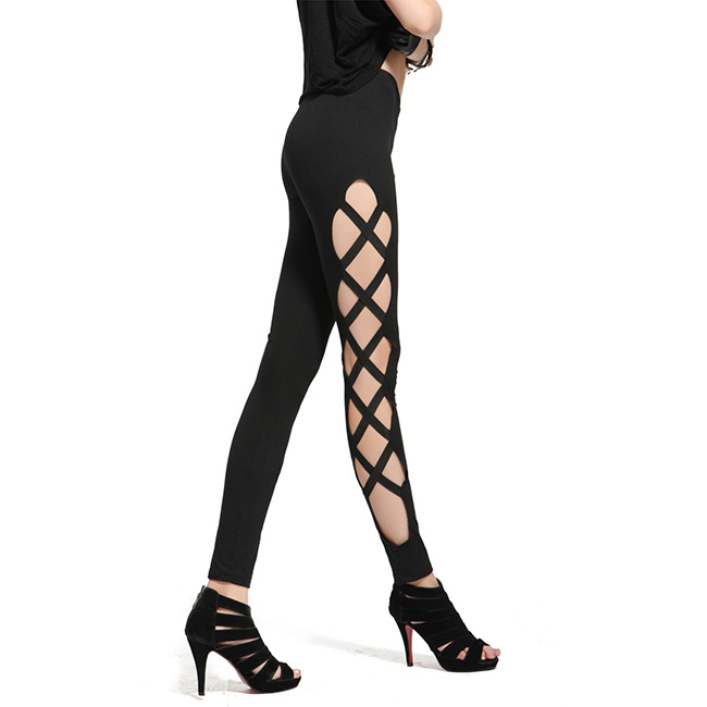 Side view of criss-cross cutout fashion leggings