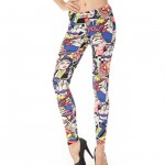 Front view of blue comic book pattern leggings
