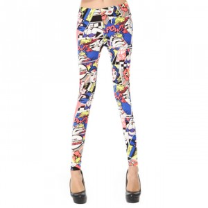 Front view of superhero fashion leggings