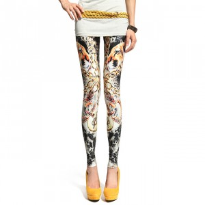 Front view of Cougar & Chains Printed Leggings