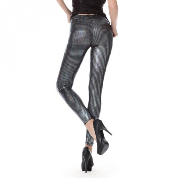 Back view of Silver Metallic Disco Leggings