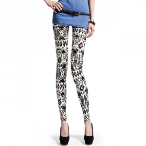 Front view of aztec doodles printed leggings