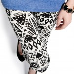 Thigh view of aztec doodle pattern