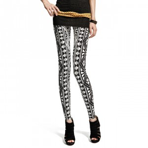 Front view of geometric pattern leggings