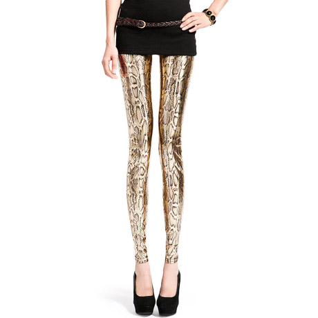Shiny metallic gold snake fashion leggings
