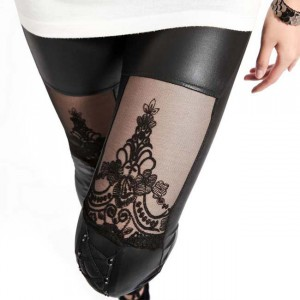 Thigh view of gothic lace embroidered leggings