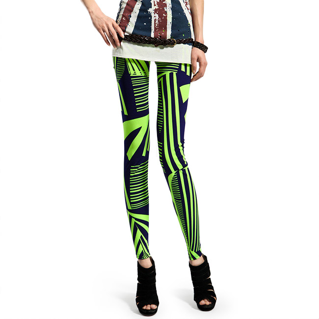 Front view of Neon Green & Navy Blue Striped Leggings