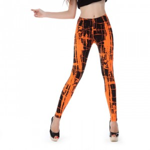Front view of orange & black scribble leggings