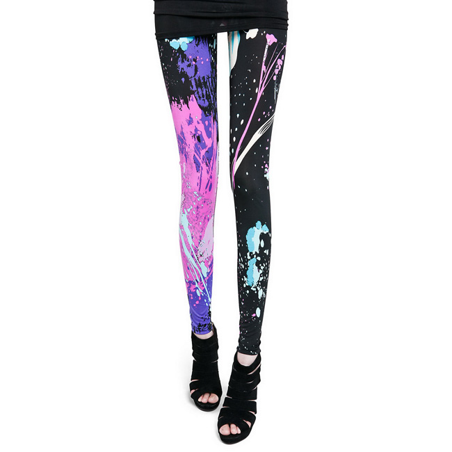 Front view of multicolor paint fashion leggings