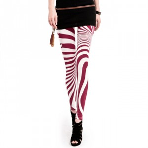 Front view of Peppermint Red & White Striped Leggings