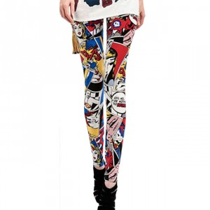 Front view of red comic book superhero legging