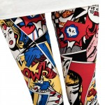 Thigh view of red comic book fashion leggings