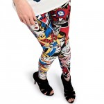 Top view of red comic superhero leggings