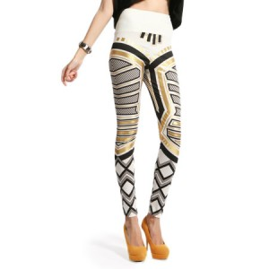 Front view of White Gold Black Patterned Fashion Leggings