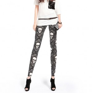 Front view of skull swirl leggings