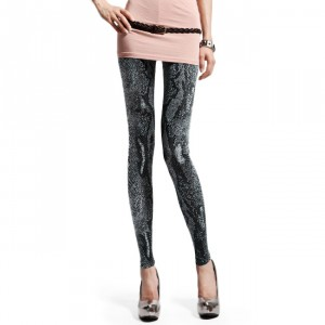 Front view of Silver Snake Pattern Leggings