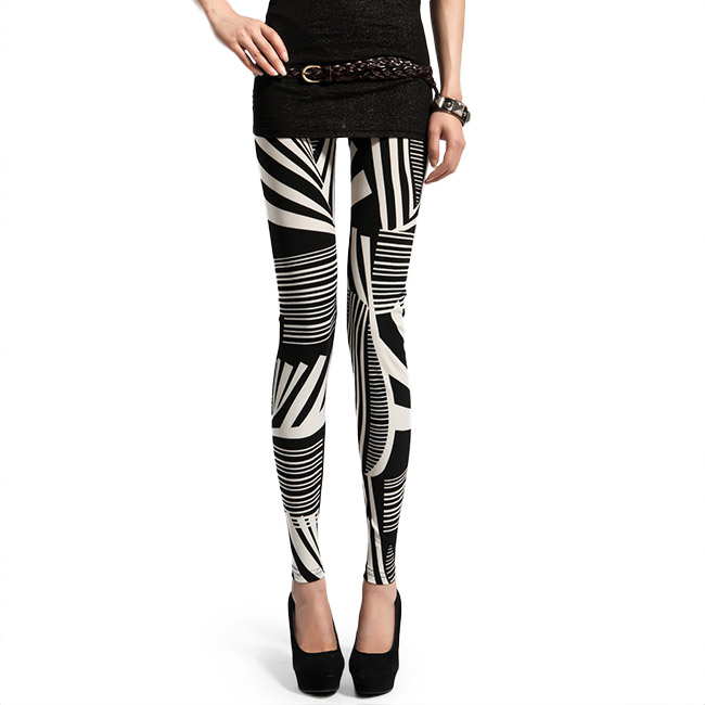 Front view of Black & White Striped Leggings
